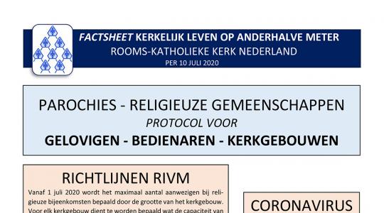 Nieuwe versie van protocol 'Kerkelijk leven op anderhalve meter' nu beschikbaar